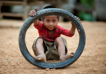 boy and tire