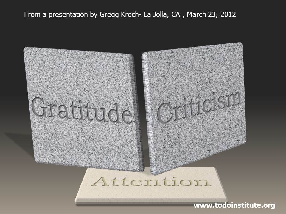 gratitude criticism and attention you know what your problem is